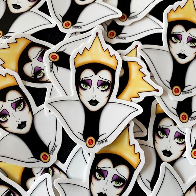 Just a little shop update! For anyone who missed it I added the Evil Queen stickers to my shop last week 👑  She's the final sticker I made for my spooky villains collection 🖤 Did anyone get all 6 of them? Link in my bio for these! ✨ #ginnakaeillustration