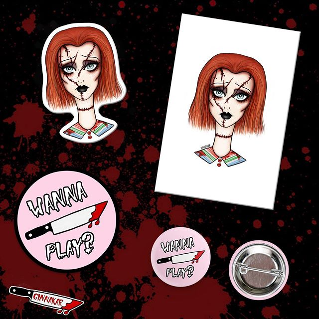 My limited edition Child's Play Killer bundle is available on my shop for only $10! Includes 2 stickers, one 4x6 Chucky print, and one button pin 🔪🔪🔪 In honor of the new Child's Play movie out TOMORROW, who's seeing it this weekend?! Link in my bio for these 🖤💉#ginnakaeillustration