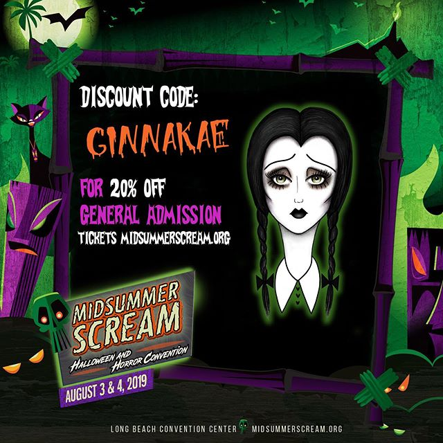 Wanted to make a little post because I am so stoked for my first time vending @midsummerscream and it's coming up so soon! (Aug 3rd + 4th) 🎃✨🔮 Who will I be seeing there?! And if you haven't yet grab your tickets and use my discount code GINNAKAE for 20% off!  I'll also have some new and exclusive items for this show 👀  I can't wait to see everyone's spooky faces! 👻 #ginnakaeillustration #midsummerscream #halloweenyearround #spookysummertime