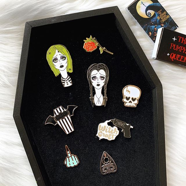 Pin appreciation post 🦇✨ I'm so in love with coffin my pin board from @livelyghosts it's the perfect way to display your pins if you're a spooky pin collector! ⚰️ Shops are tagged and my pins are available on my shop - link in my bio 🦇 #ginnakaeillustration