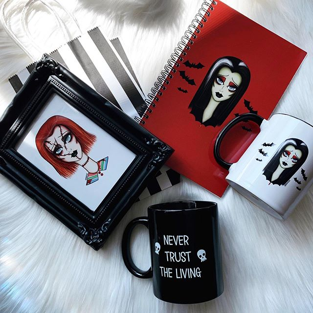 Only one day away til @midsummerscream! 🎃  I shared this on my story the other day already but these are just a few new items I will have available this weekend!  Super super limited amounts of both mugs and the notebooks so hurry and grab one while supplies last ♥️⛓ I'm at space # 738! Come by and say hi!! And fulfill all your cute & spooky needs 🦇 #ginnakaeillustration