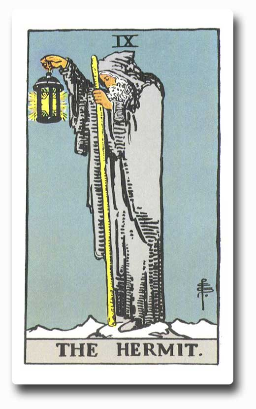 The Hermit is card 9 of the Major Arcana