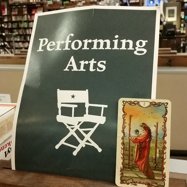 The world's a stage! And with my North Node in Leo, I exhibit the performing arts. This image features the Two of Wands from the Tarot Mucha at Tattered Cover in Denver. Follow TabithaDial at Instagram for more images like these.