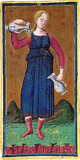 From Visconti Sforza Tarot, the world's first Temperance.