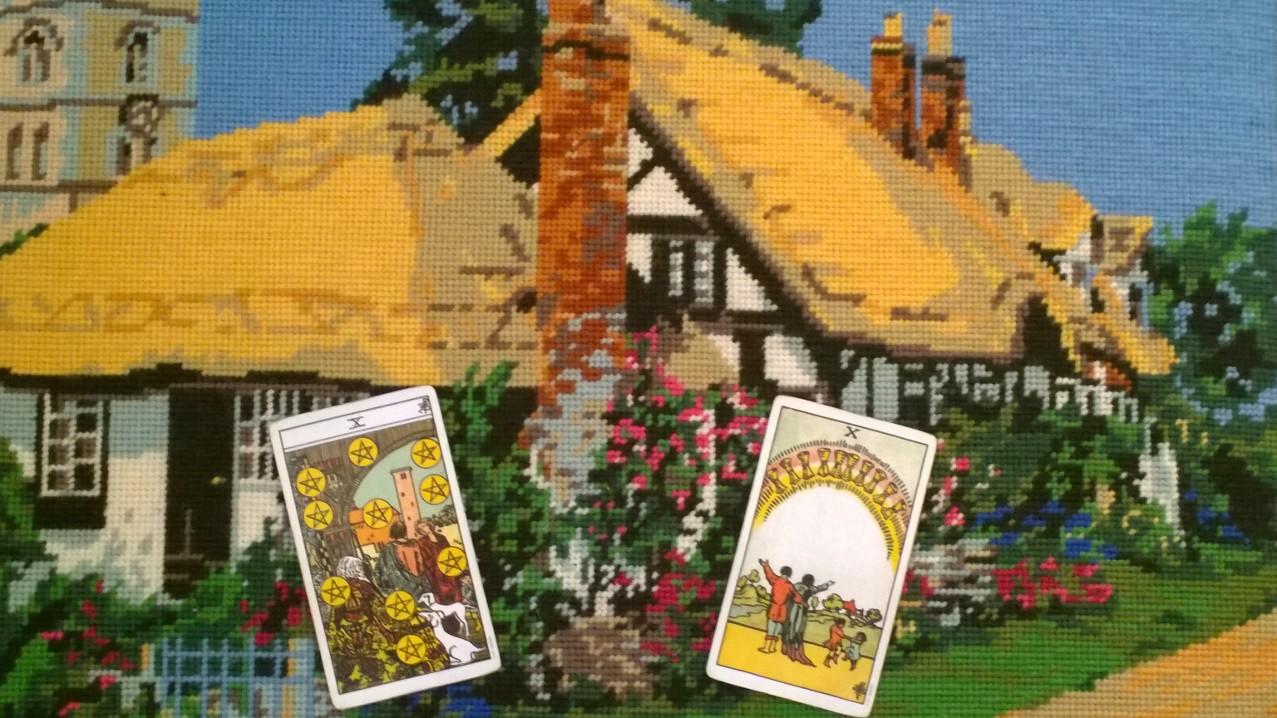 Original photo, Waite-Smith Tarot images, needlepoint by my mother, Diane Hamblin.