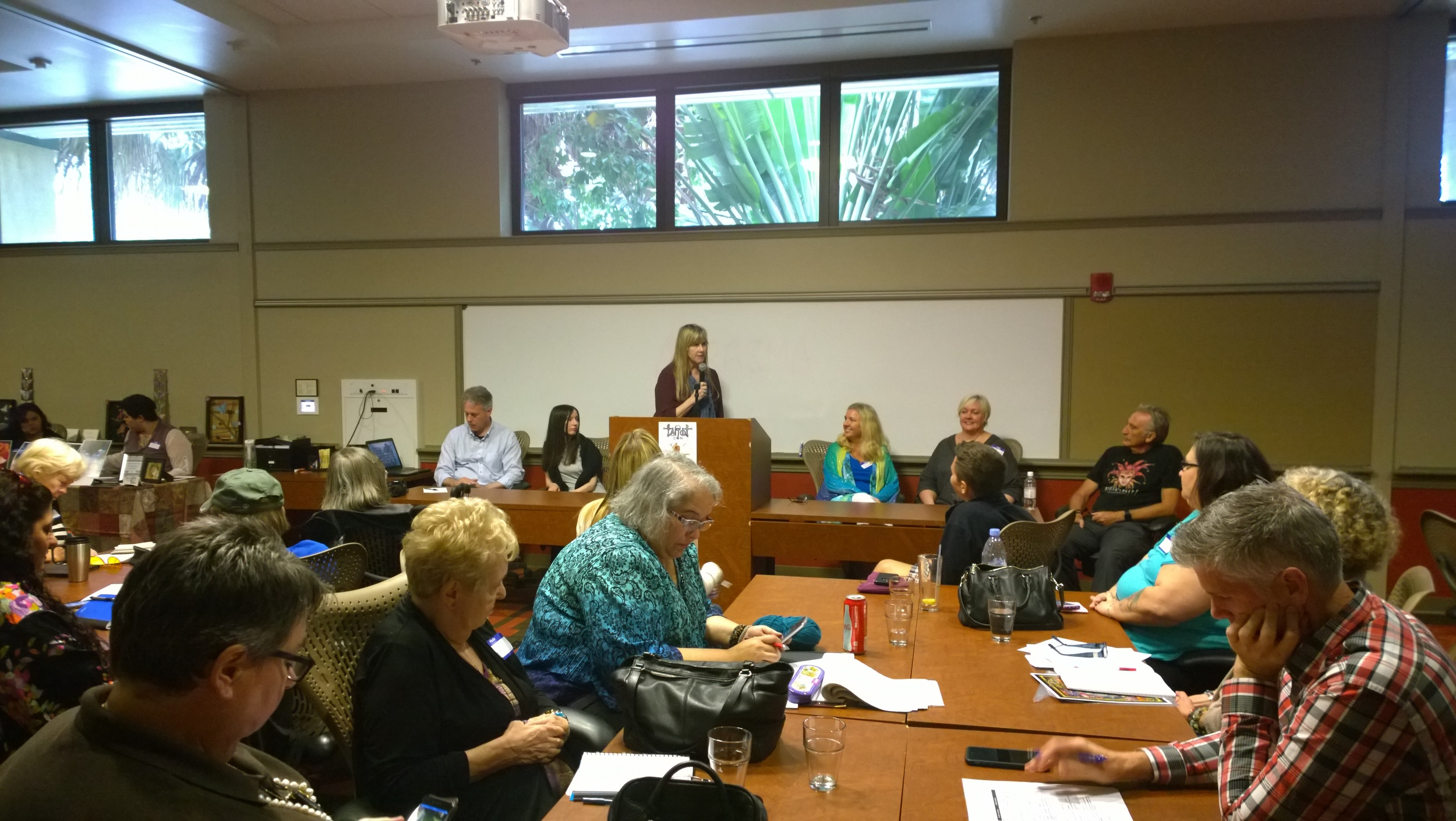 The Tarot Artists and Authors panel, moderated by Mary Ellen Collins.