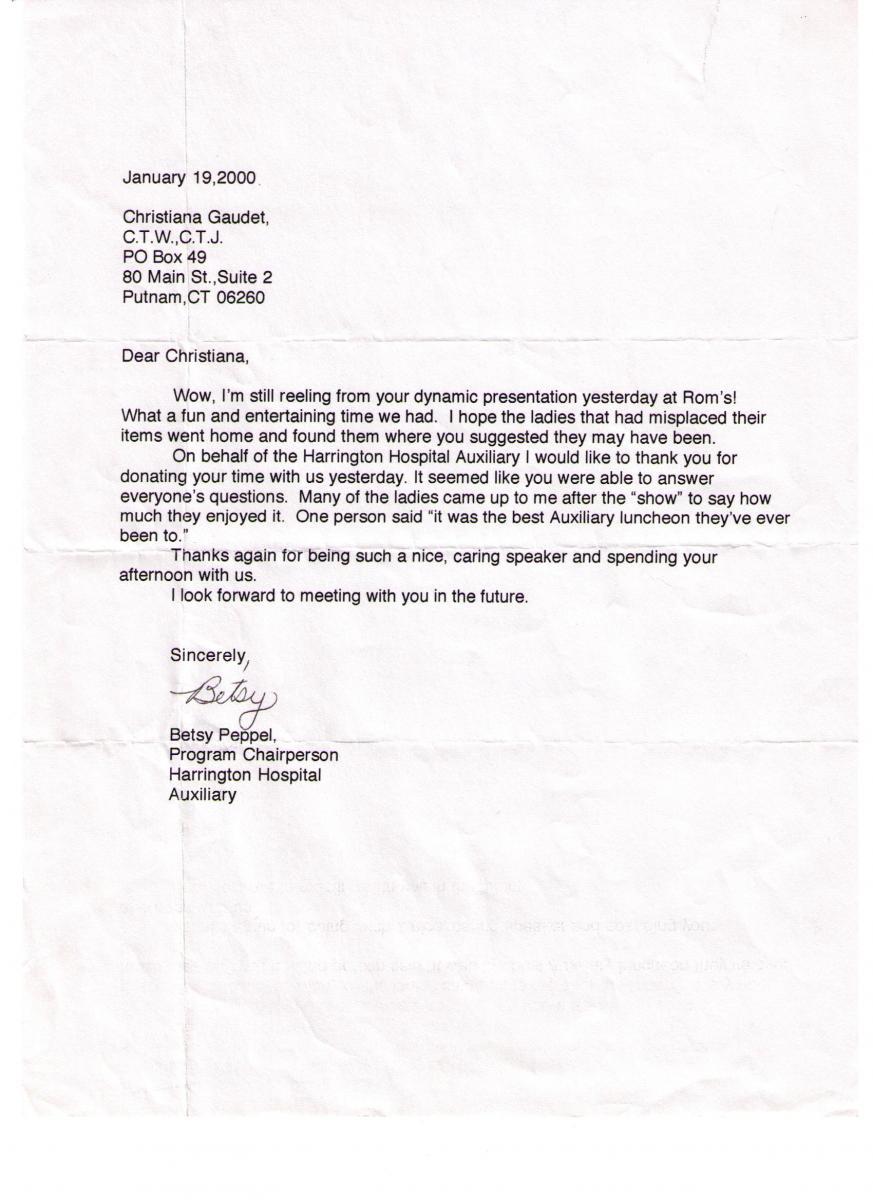 Harrington Hospital Auxillary Thanks and Testamonial 2000