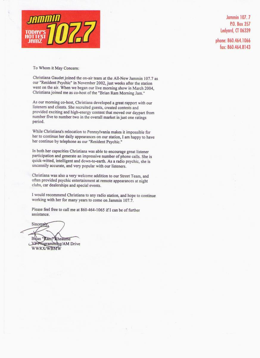 Letter of Reference from Jammin 1077 2004