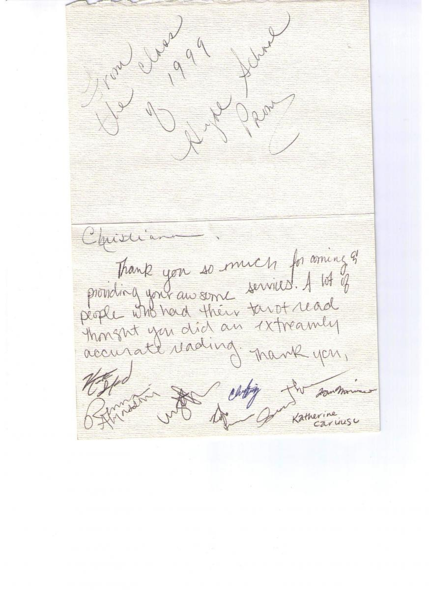 Thank You Note from Hyde School Prom Class of 1999