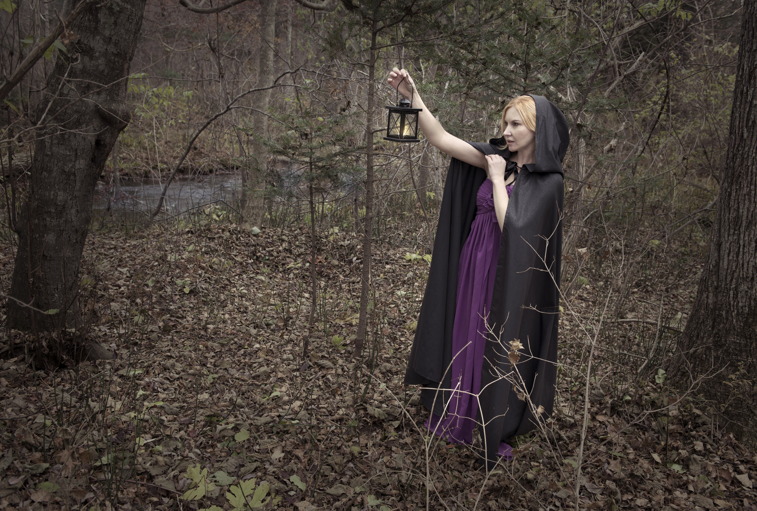 Beautiful lady holding lantern in the scary wood