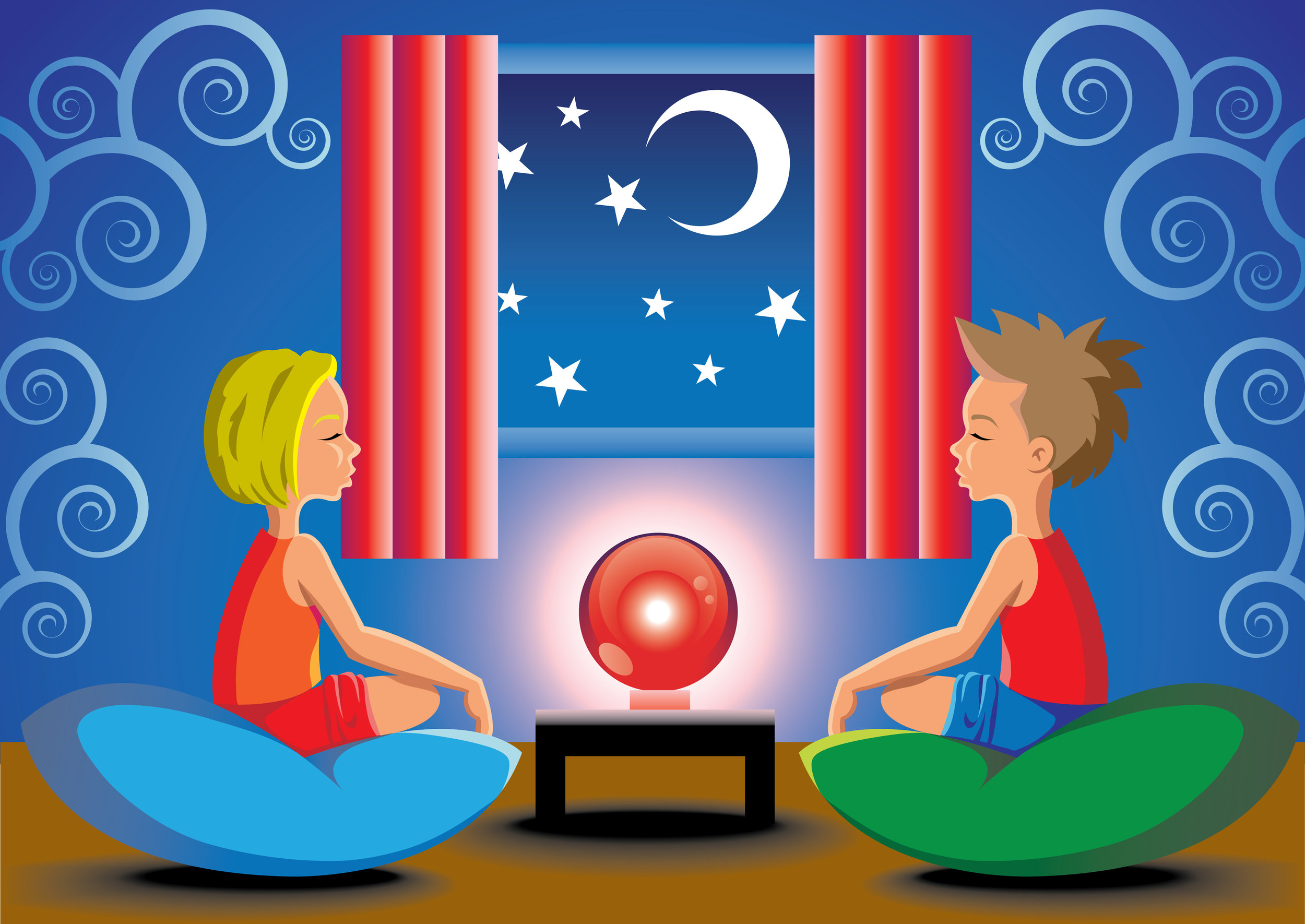 fortune teller kids having a spiritualism seance
