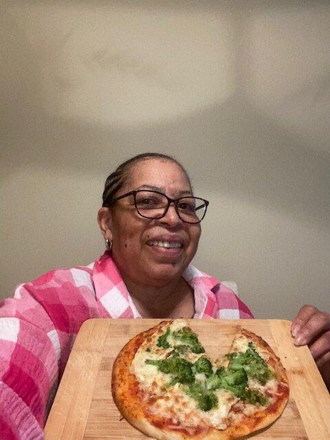 Yvonne & her pita pizza.jpg