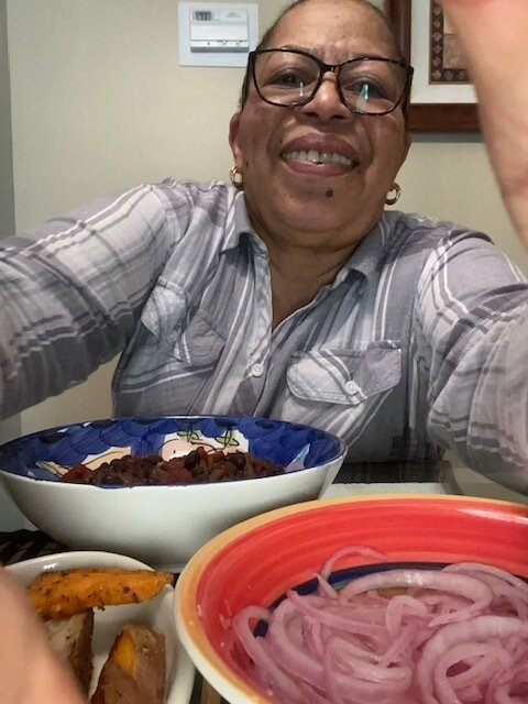 Yvonne made the vegetarian chile with pickled onions & avocado & herbed potatoes,.jpg