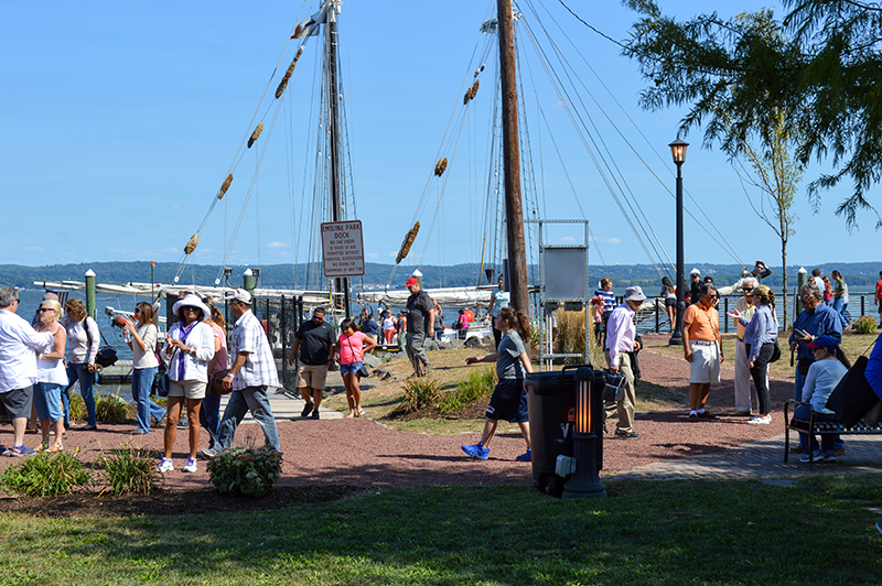 Visitors boarding the schooner Pioneer