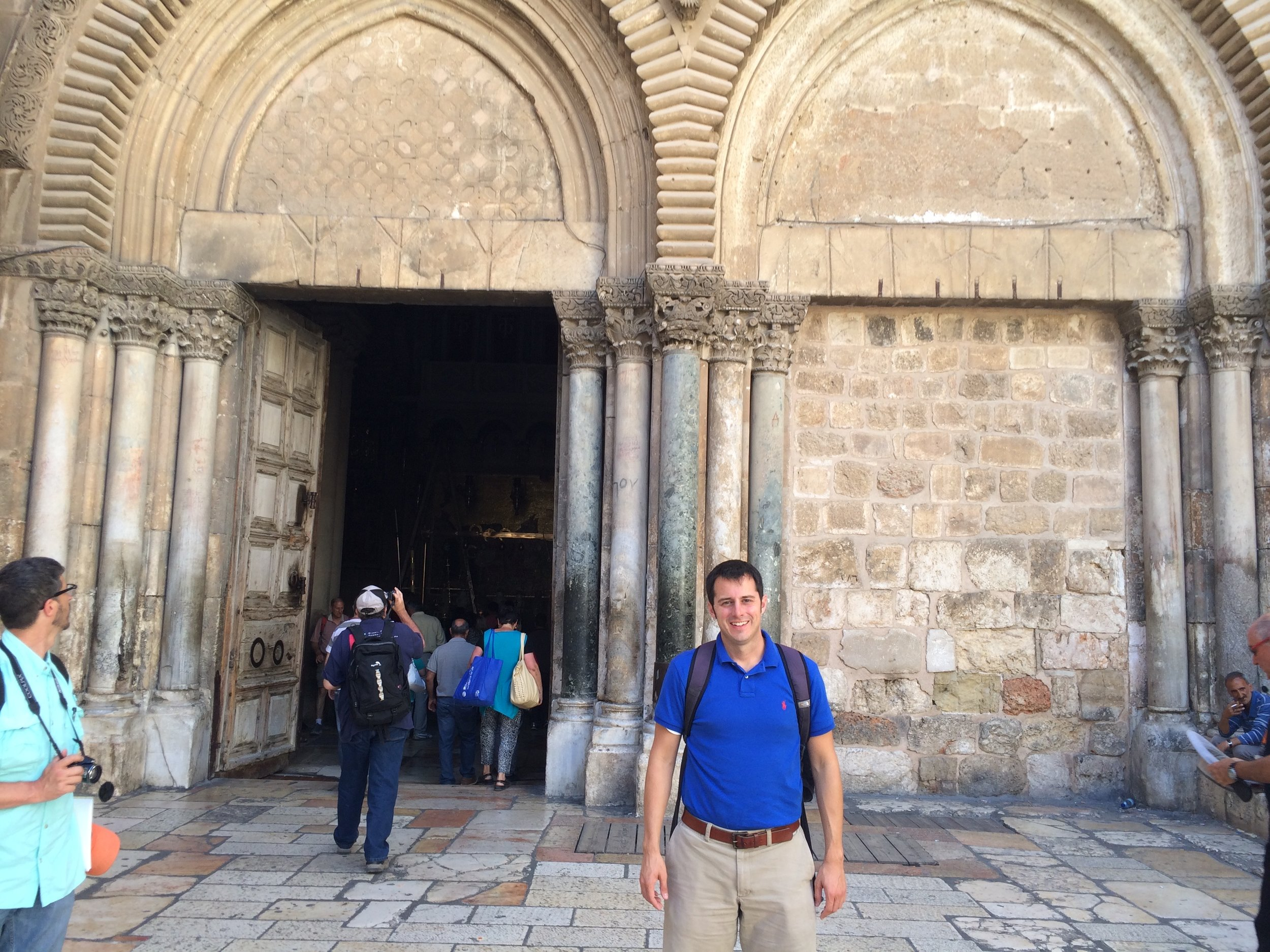 Here I am at the Church of the Holy Sepulchre, in Jerusalem. This is a church that has been built on the place where tradition holds that Jesus was crucified. This is the place where many think Jesus gave His blood for the Church.