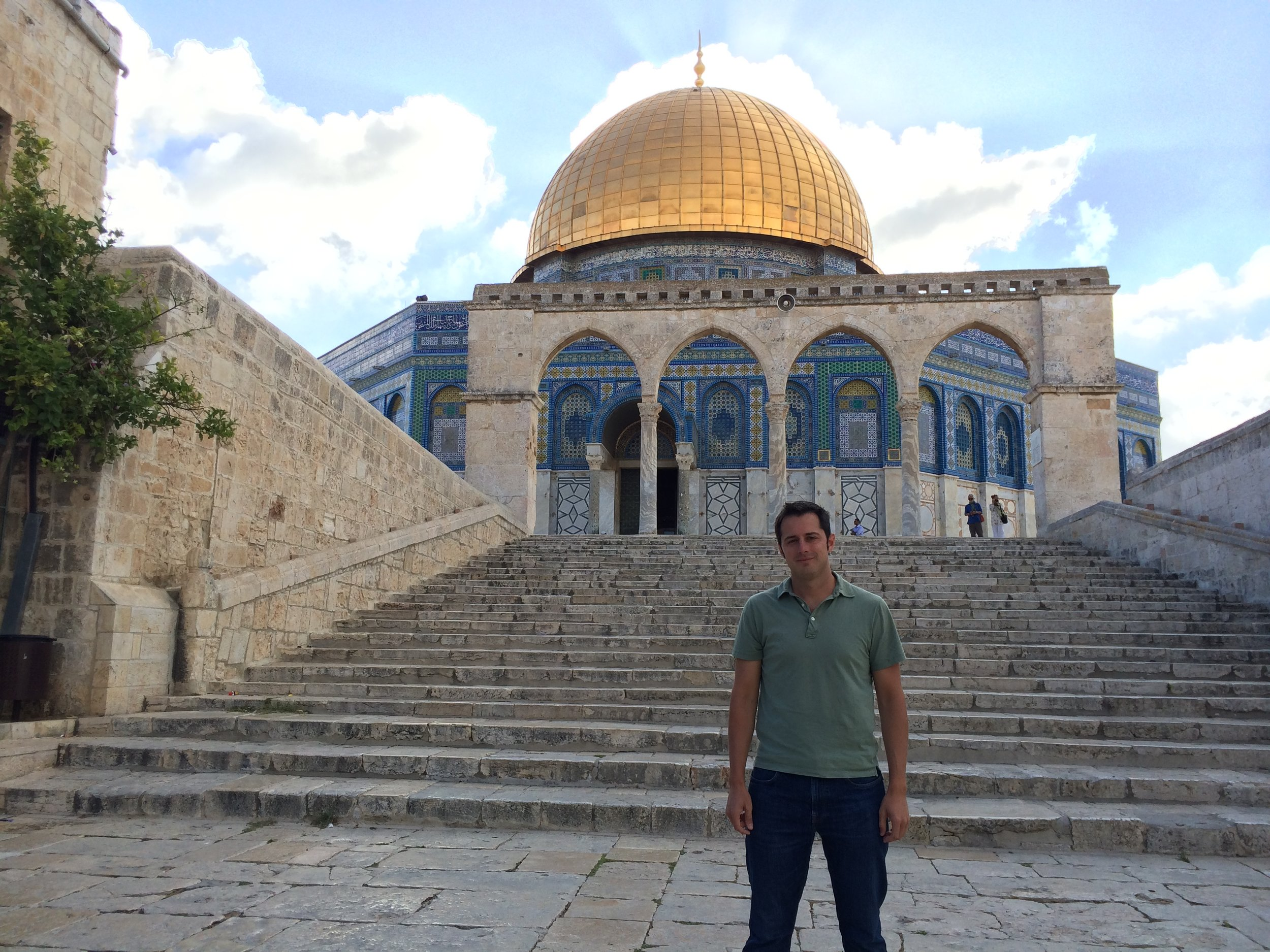 I am standing at the site of the ancient Temple to Yahweh, in Jerusalem.  You will quickly note it is no longer there.  It was torn down almost 2,000 years ago by the Romans.  Now, in its place is the famous Muslim Dome of the Rock.