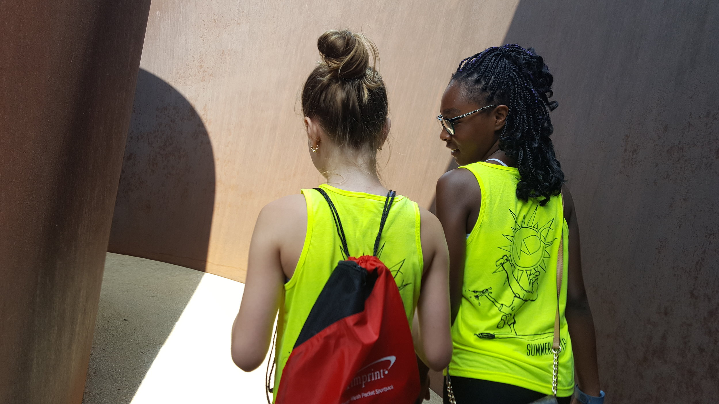 Students exploring a sculpture at the Contemporary Art Museum