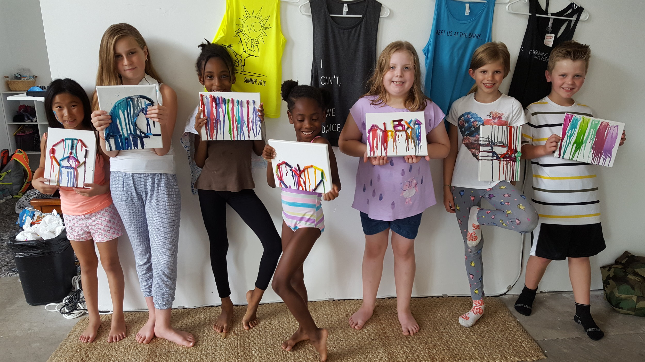 Students show off their crayon artwork!