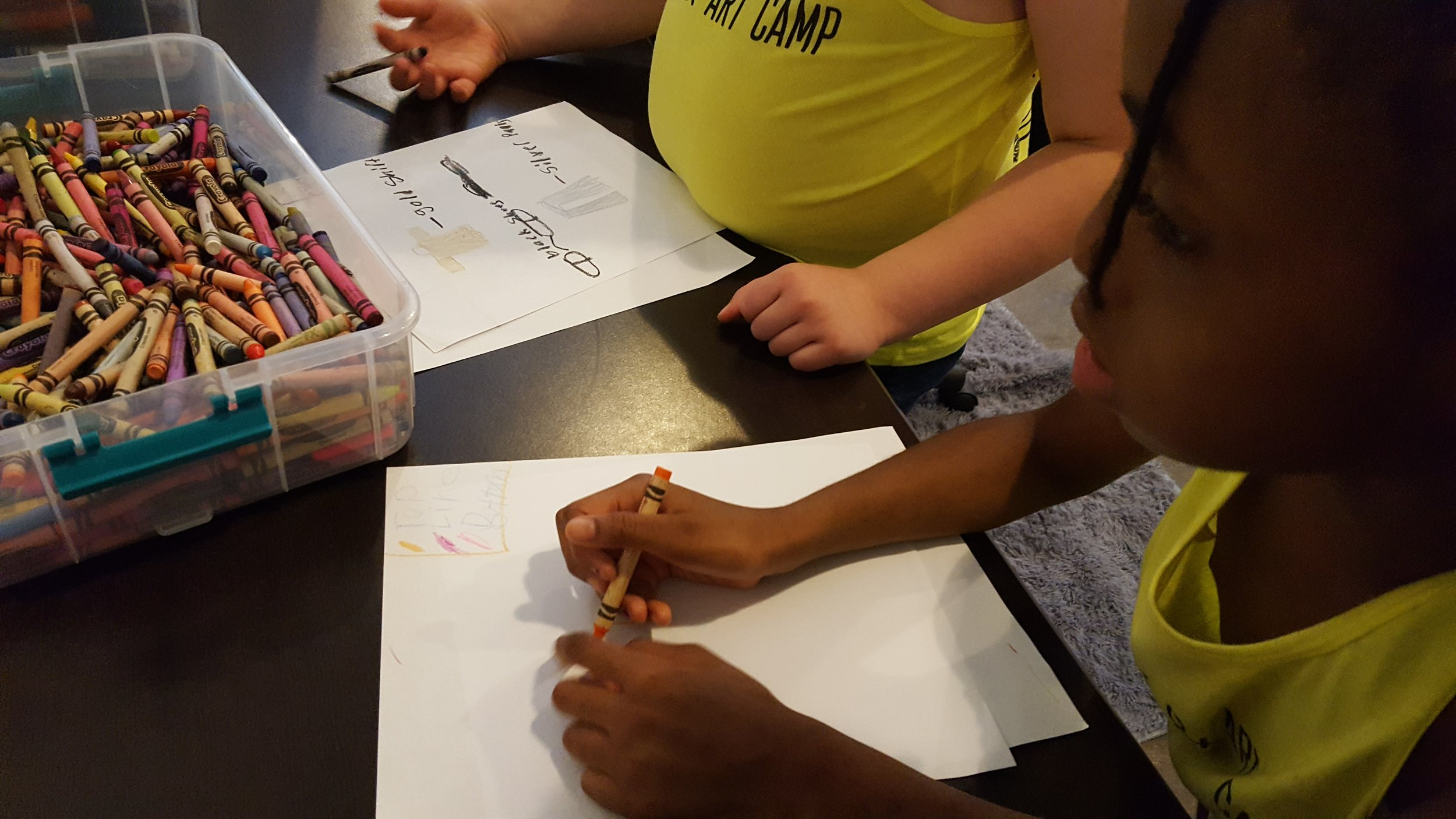 Students during a drawing activity