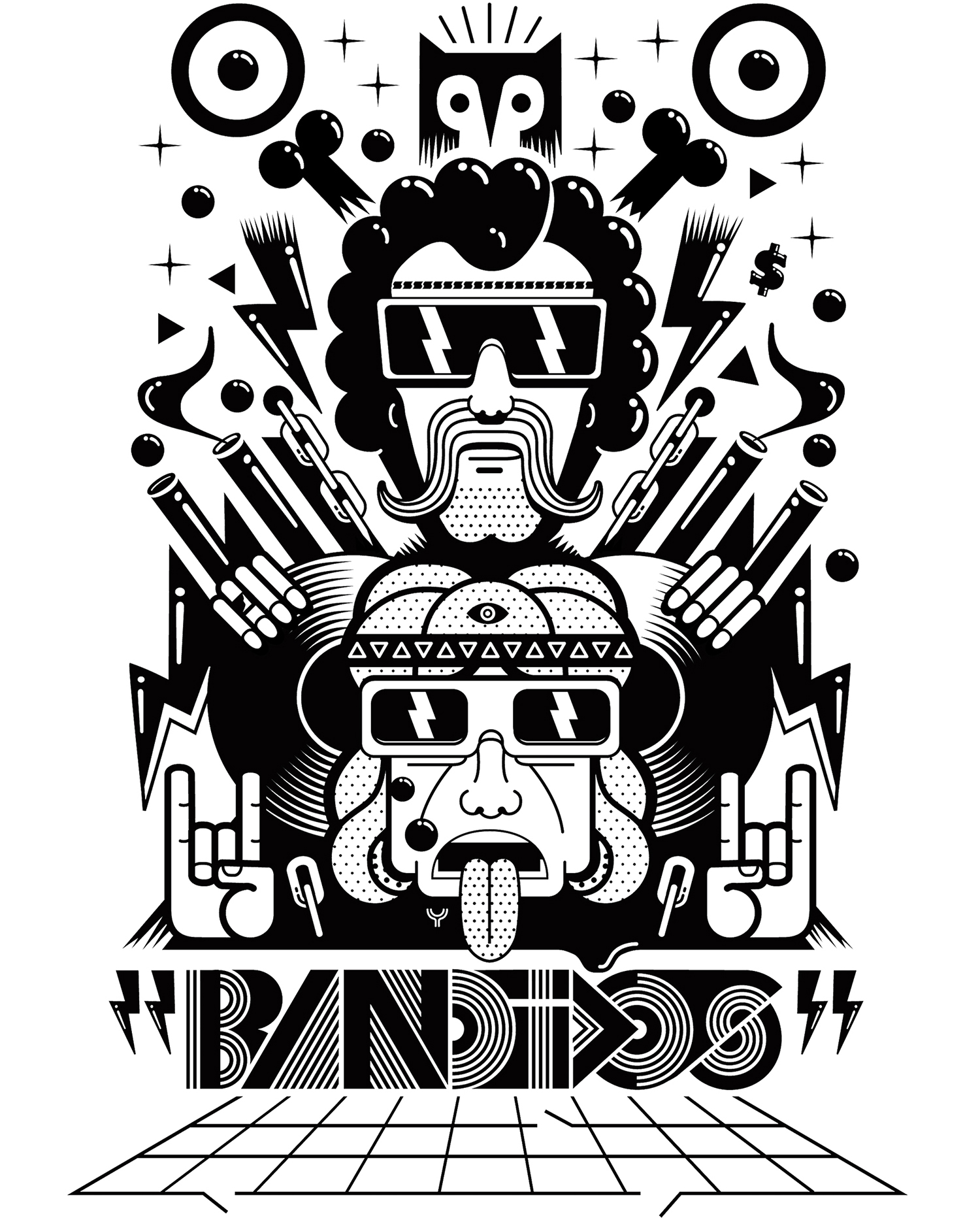 BANDIDOS  Illustration to be used in t-shirts, posters and myspace of Bandidos Dj's and music producers.