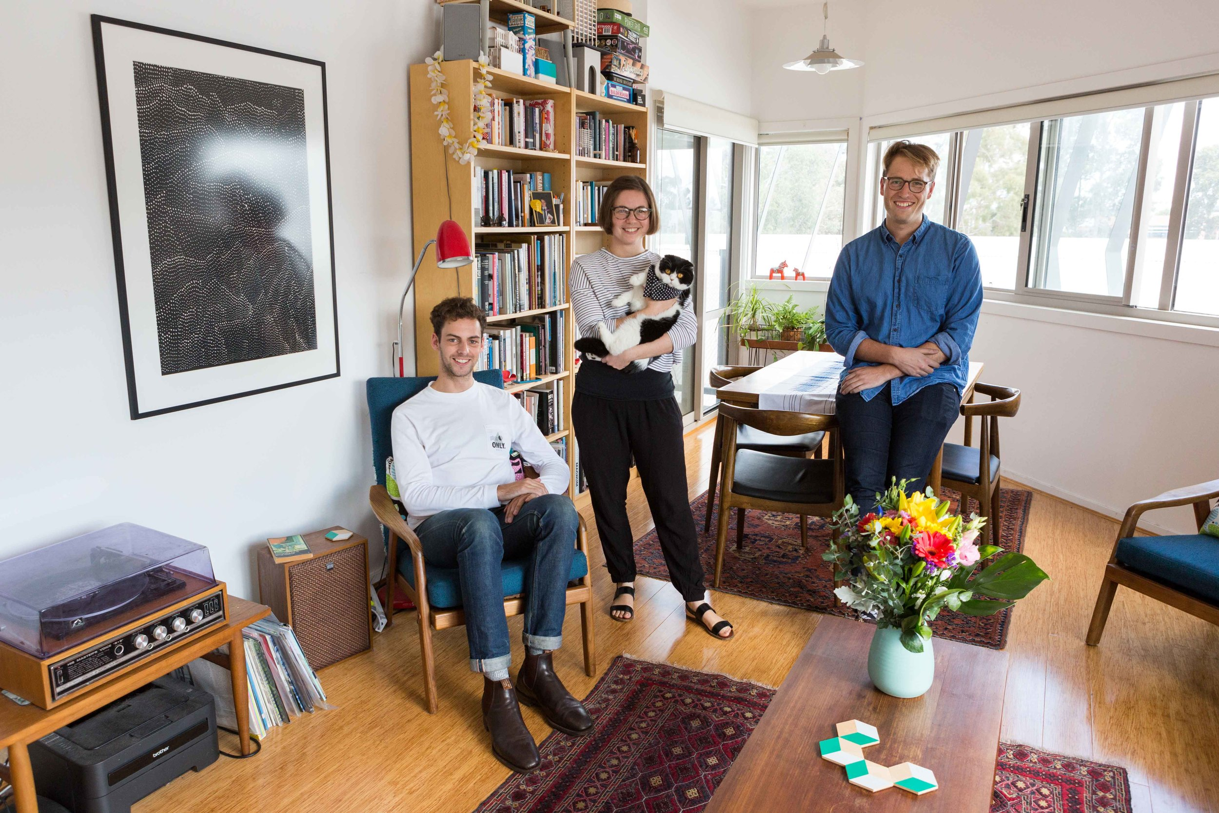 Emily Boutard, Simon McKenzie and Patrick Darby at home
