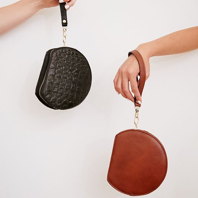 Our Lunar Mini's in pebbled brown and crocodile black. These pieces have interchangeable straps and look fantastic with our Lunar Max straps so you can wear yours crossbody for the ultimate hands-free experience. . . #lunarcollection #lunarbag #handbag #leatherbag #circlebag #handmade #australianmade #luxury #accessories