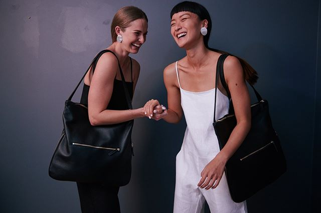 Laugh through hump day!  The Morgan 3 in 1 / Backpack, tote & top handle leather bag back in stock. . . .  #australianmade # leatherbackpack #bag #bff #ootd #leatherbag #jumpsuit #smile #styleinspo