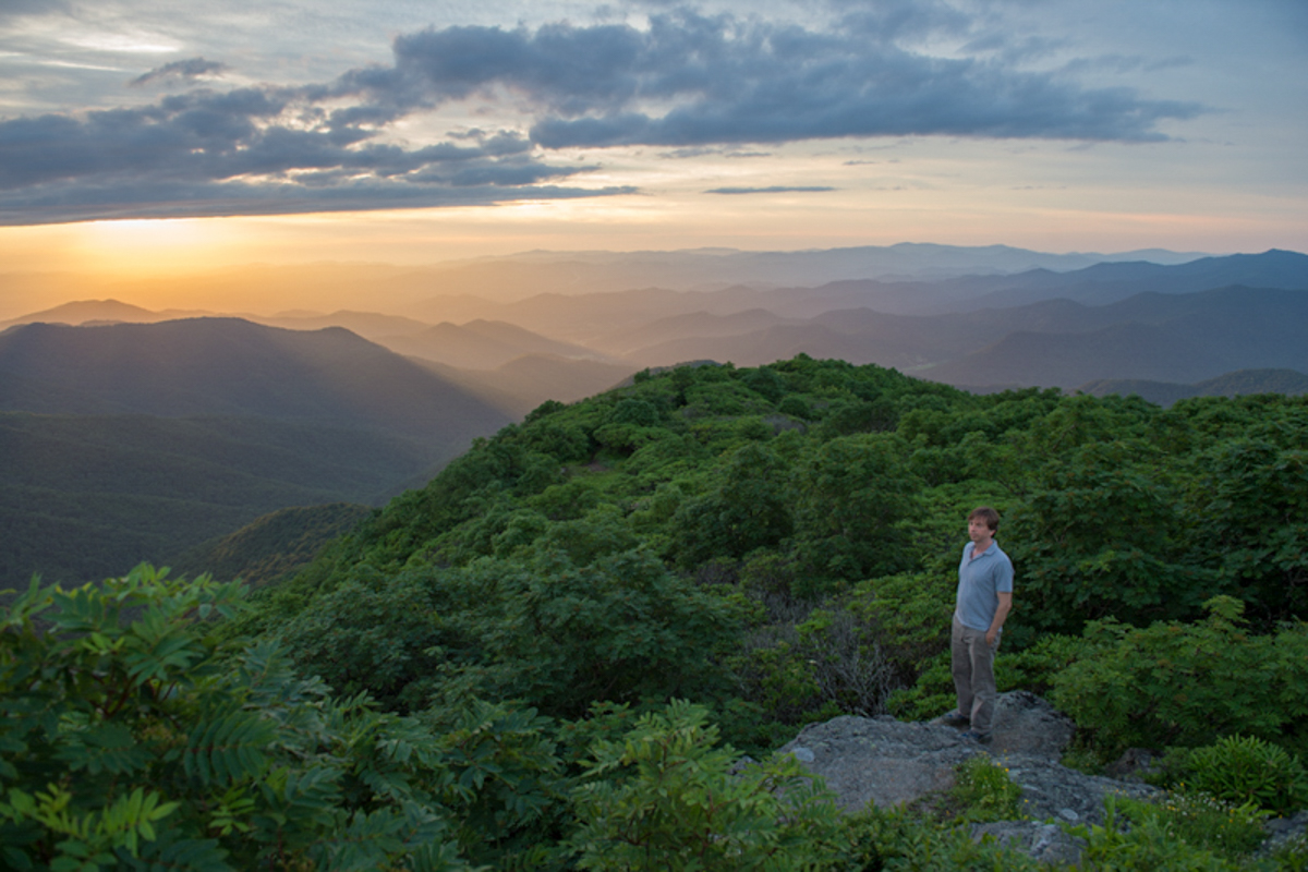 Steve, Sunset at the Craggy Gardens Pinnacle