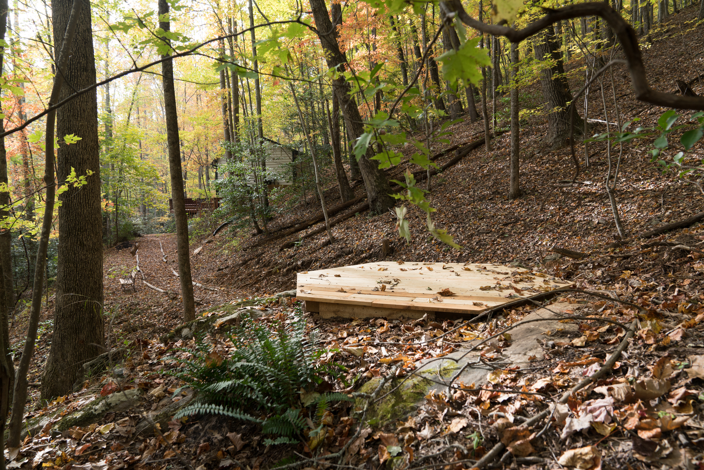 The meditation and yoga platform in the middle of the woods, completely private and dreamy