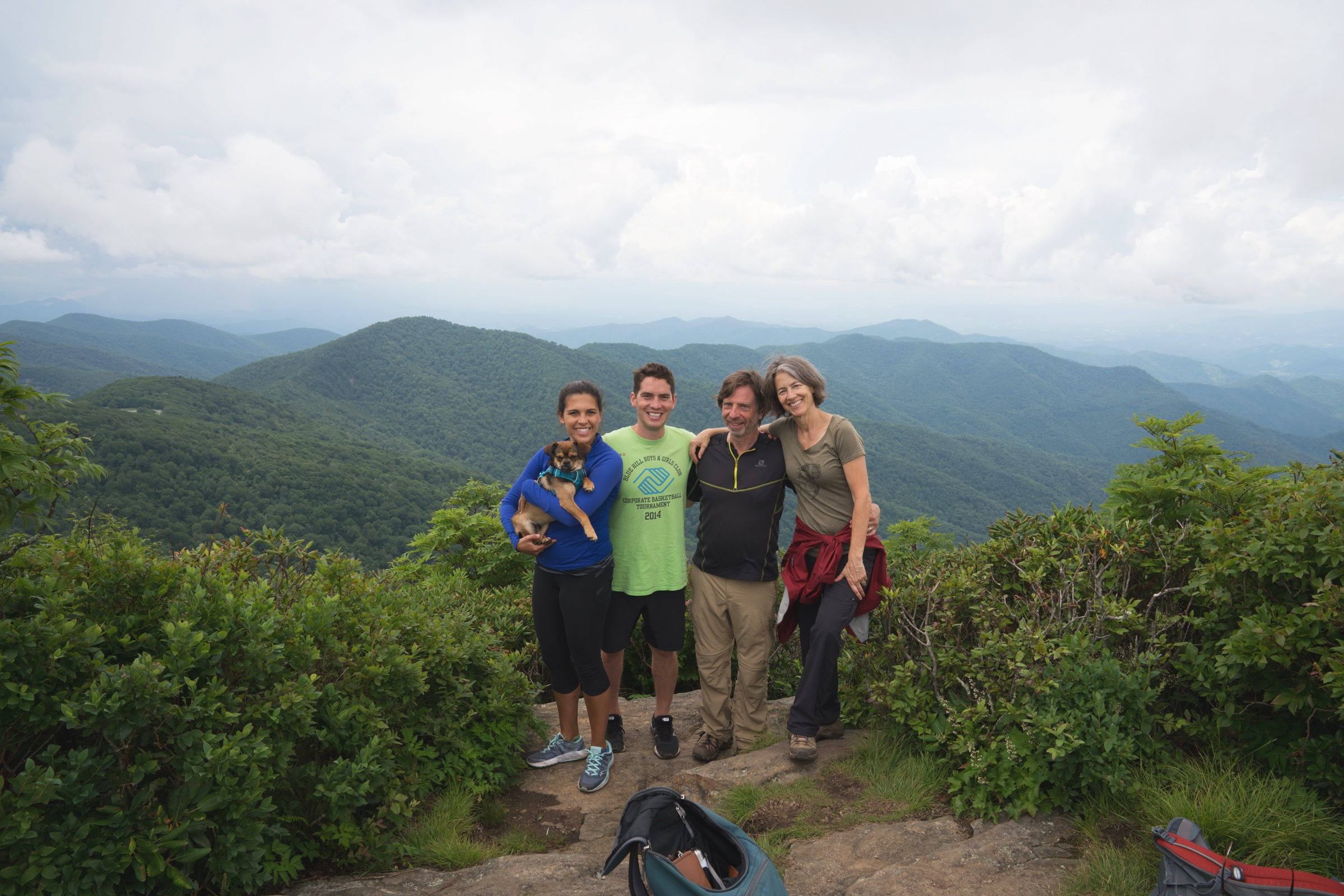 We stopped off for another favorite, Craggy Pinnacle, for the short 1/2 mile hike to the top. Pictured are Caitlyn and James (nephew and fiancee), Steve, and Lynne