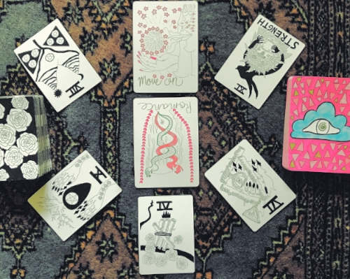 Alejandra is using both the Spirit Speak tarot deck and the Vessel oracle deck created by artist Mary Evans.  Both of these decks are available at Resurrect online and in store.