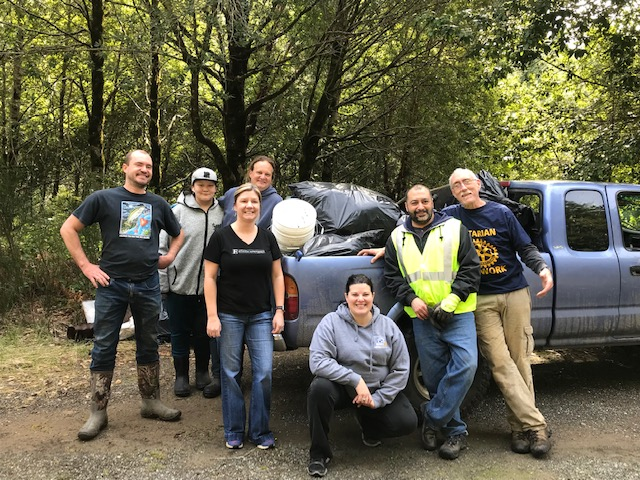 Rotarians teamed with Sanctuary Forest to Clean up McKee Creek in Whitethorn