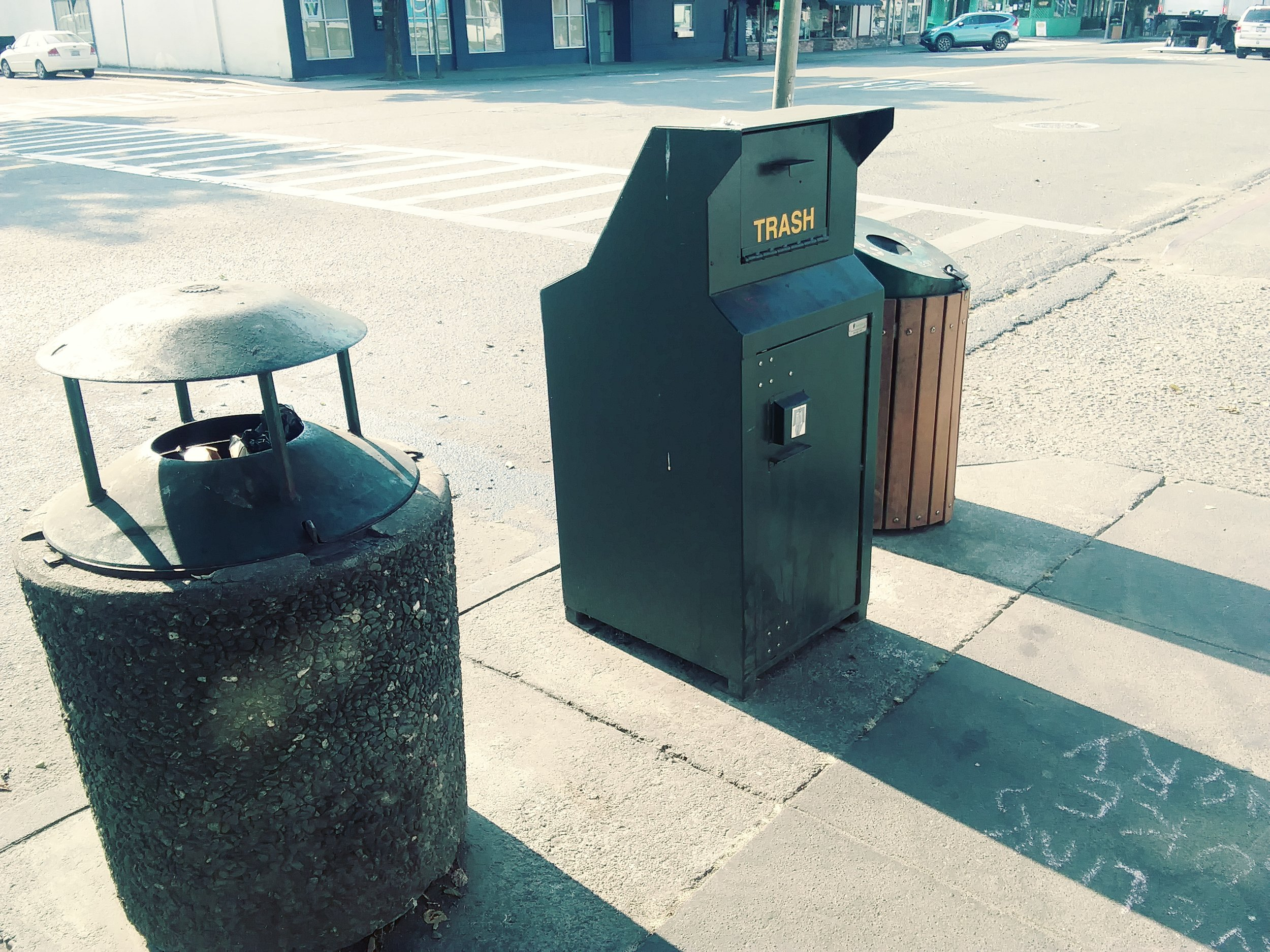 The trash cans in Garberville and Redway   -