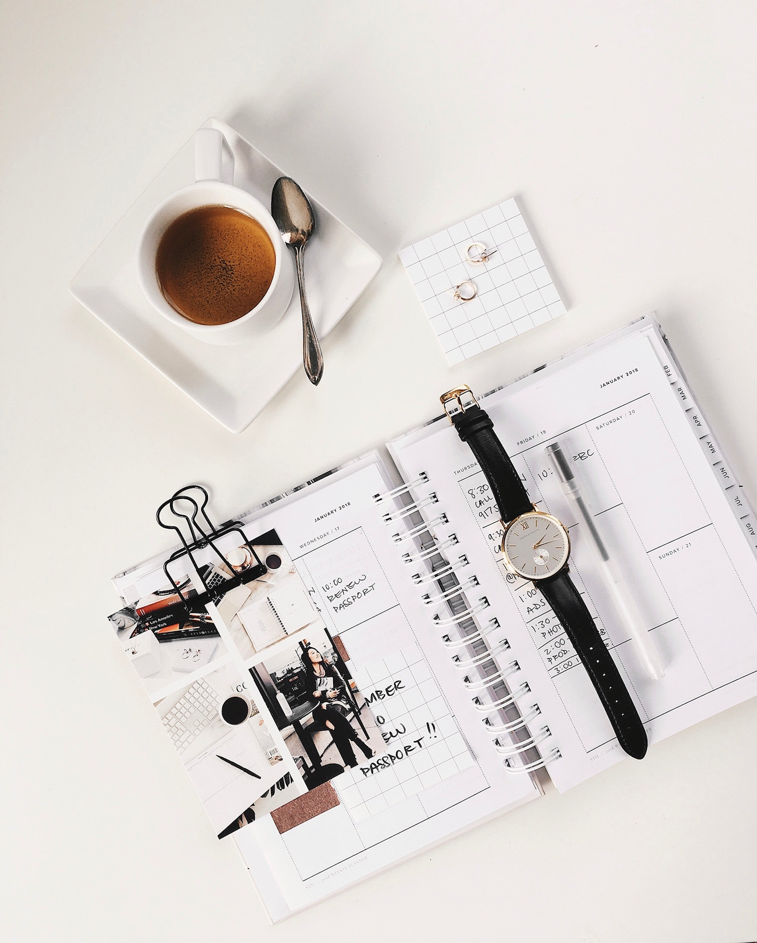 coffee planer flat lay on desk
