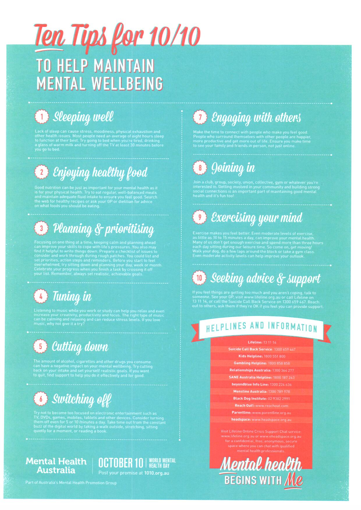 Ten tips for mental wellbeing