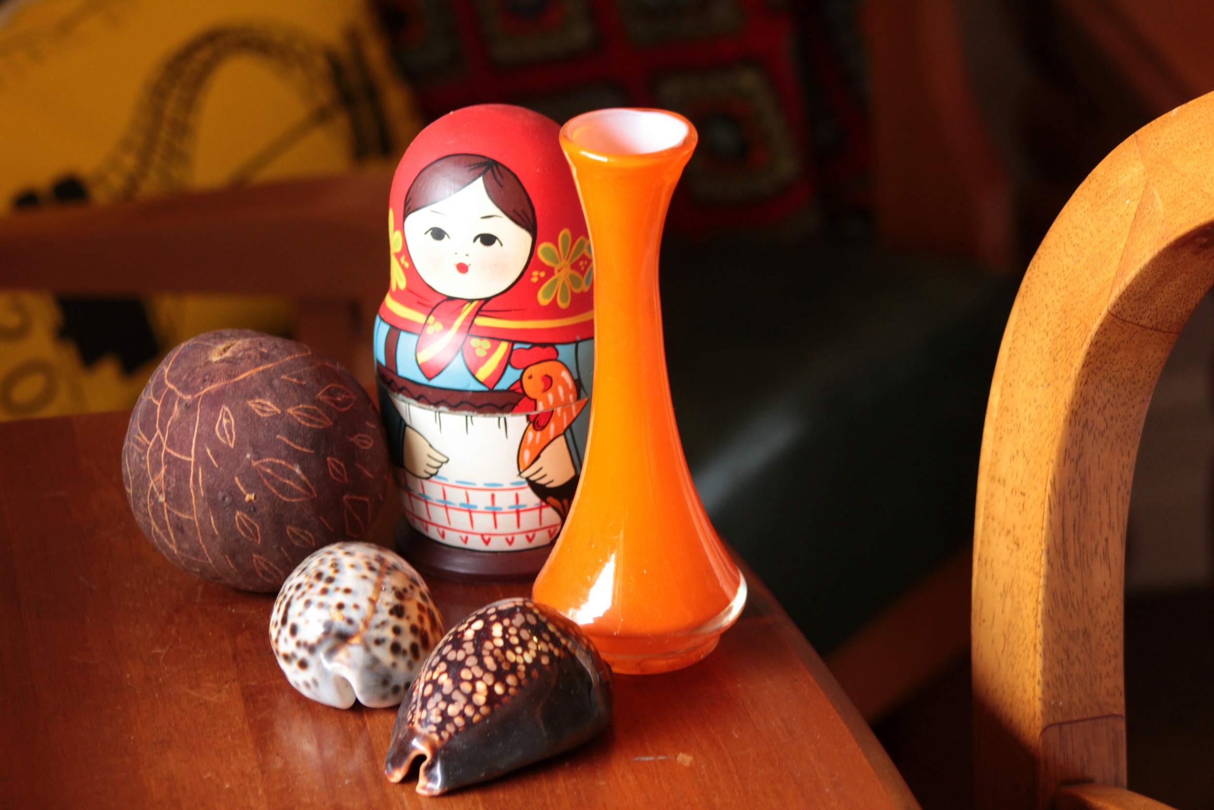 Dolls from St Petersburg, boab seed from Kunnunurra and shells from Vanuatu.  Furniture a mix of inheritance and ebay.