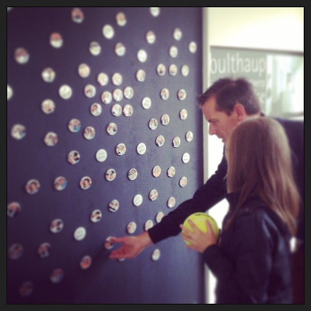 #bulthaup #optimaopen2014 #fridgemagnets come get your photobutton with the tennis legend of your choice