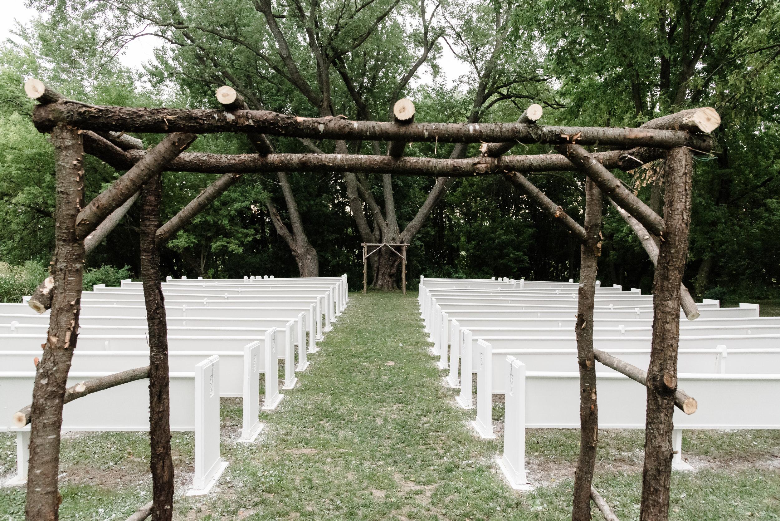 Bloom Lake Barn Outdoor Chapel Ceremony Area - Shafer, MN Wedding Venue