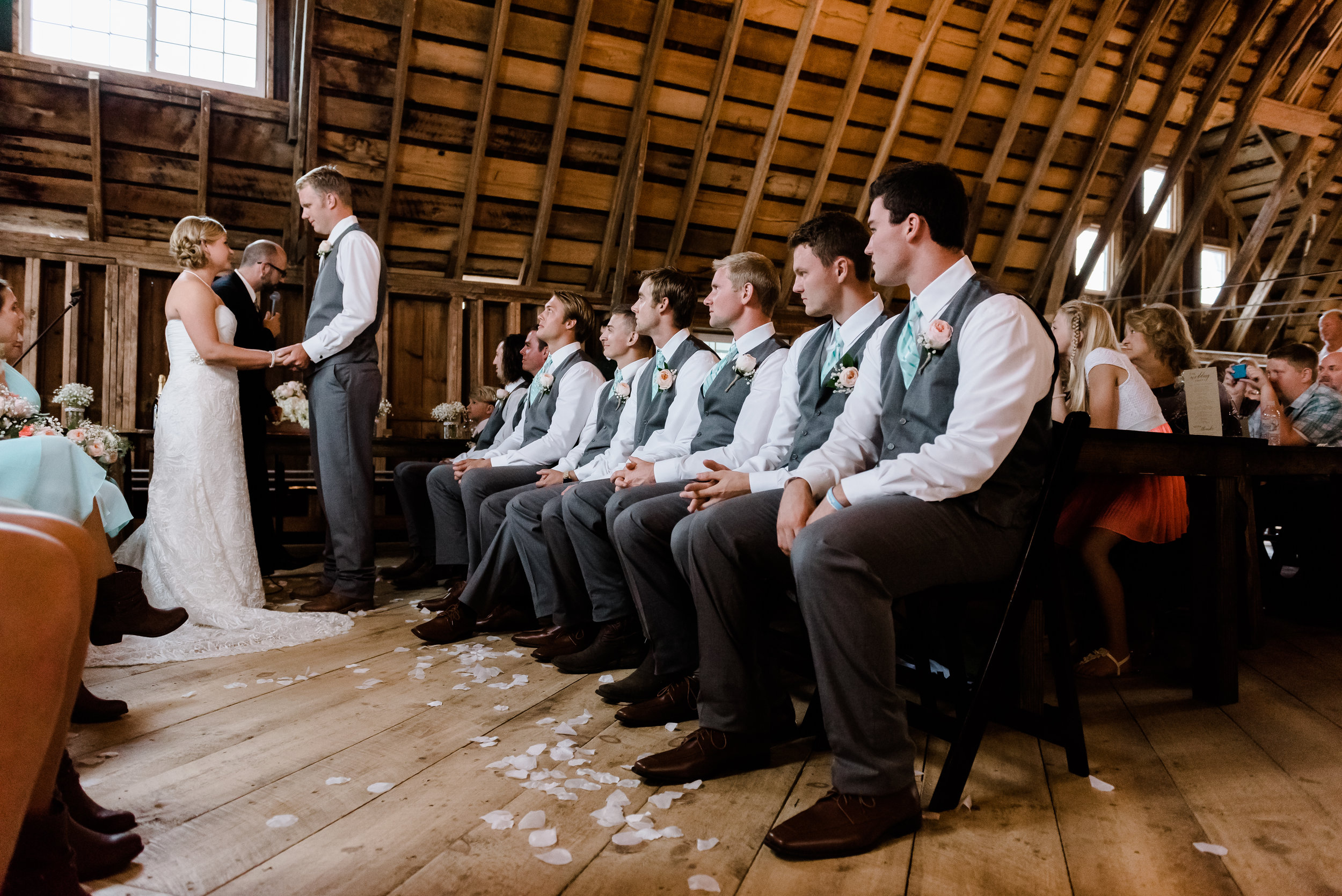 Indoor Ceremony at Bloom Lake Barn on a Rainy Day - Shafer, MN