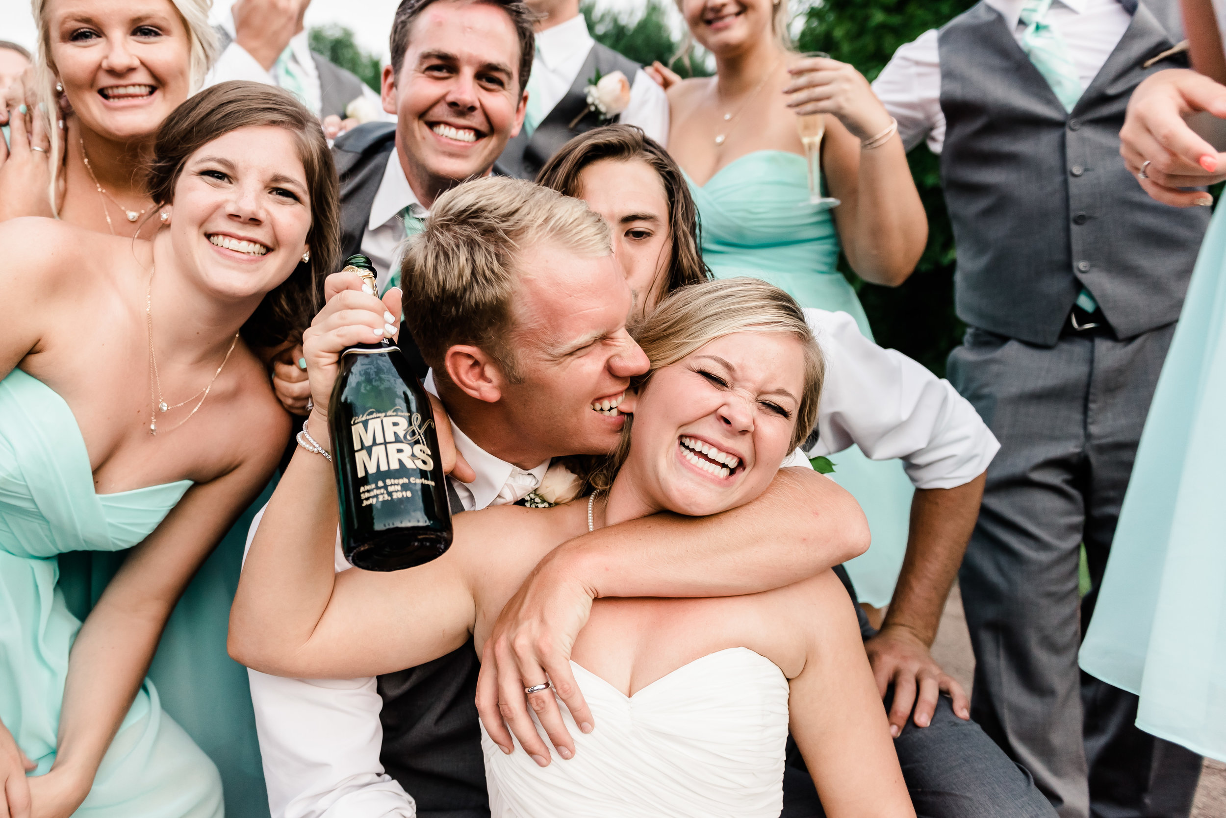 Happy Newlywed Couple at Bloom Lake Barn Wedding in Shafer, MN