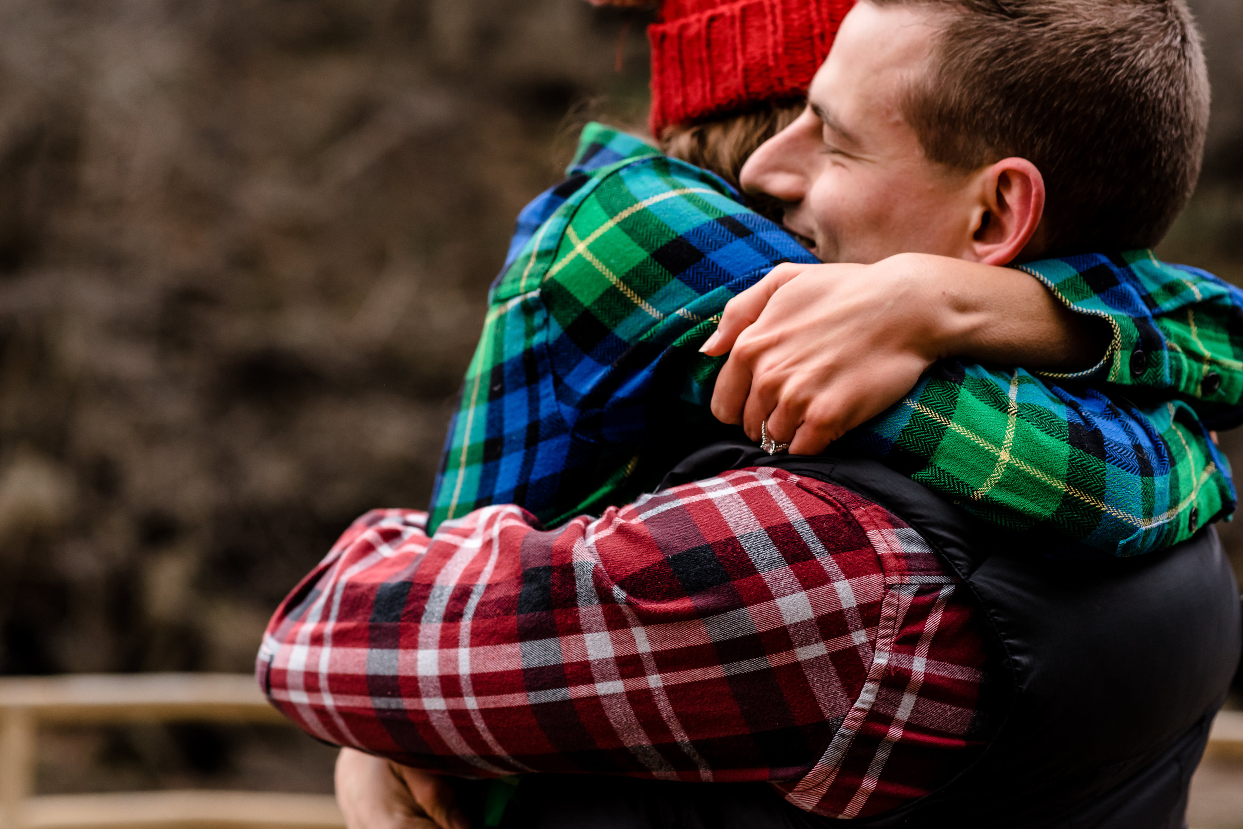 Christmas Proposal Inspiration - Flannel Engagement Photos - Hudson, Wi Proposal Photographer - Willow River State Park Photos