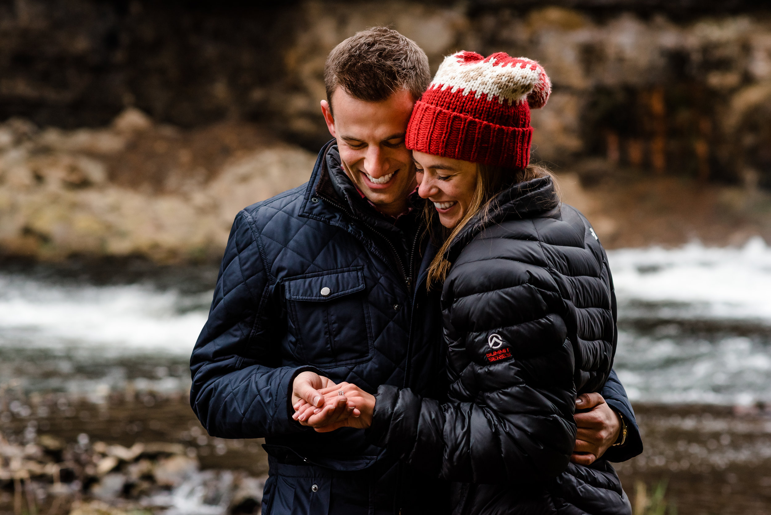 Willow River Falls Hudson, WI Proposal - Christmas Engagement Inspiration - Twin Cities Proposal Photography