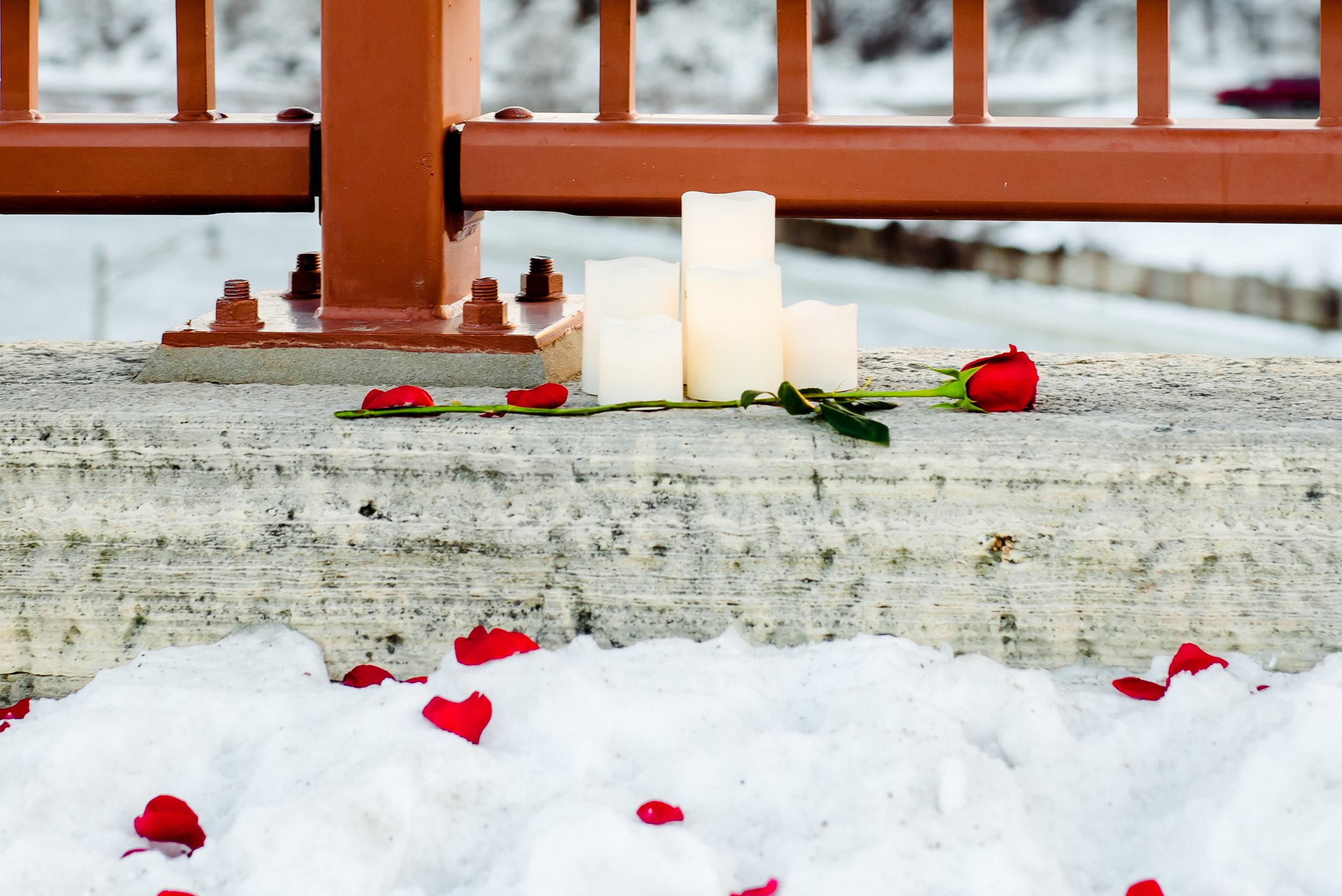 Romantic Stone Arch Bridge Minneapolis Proposal - Winter Snow Proposal with Roses - Minneapolis Proposal Photographer