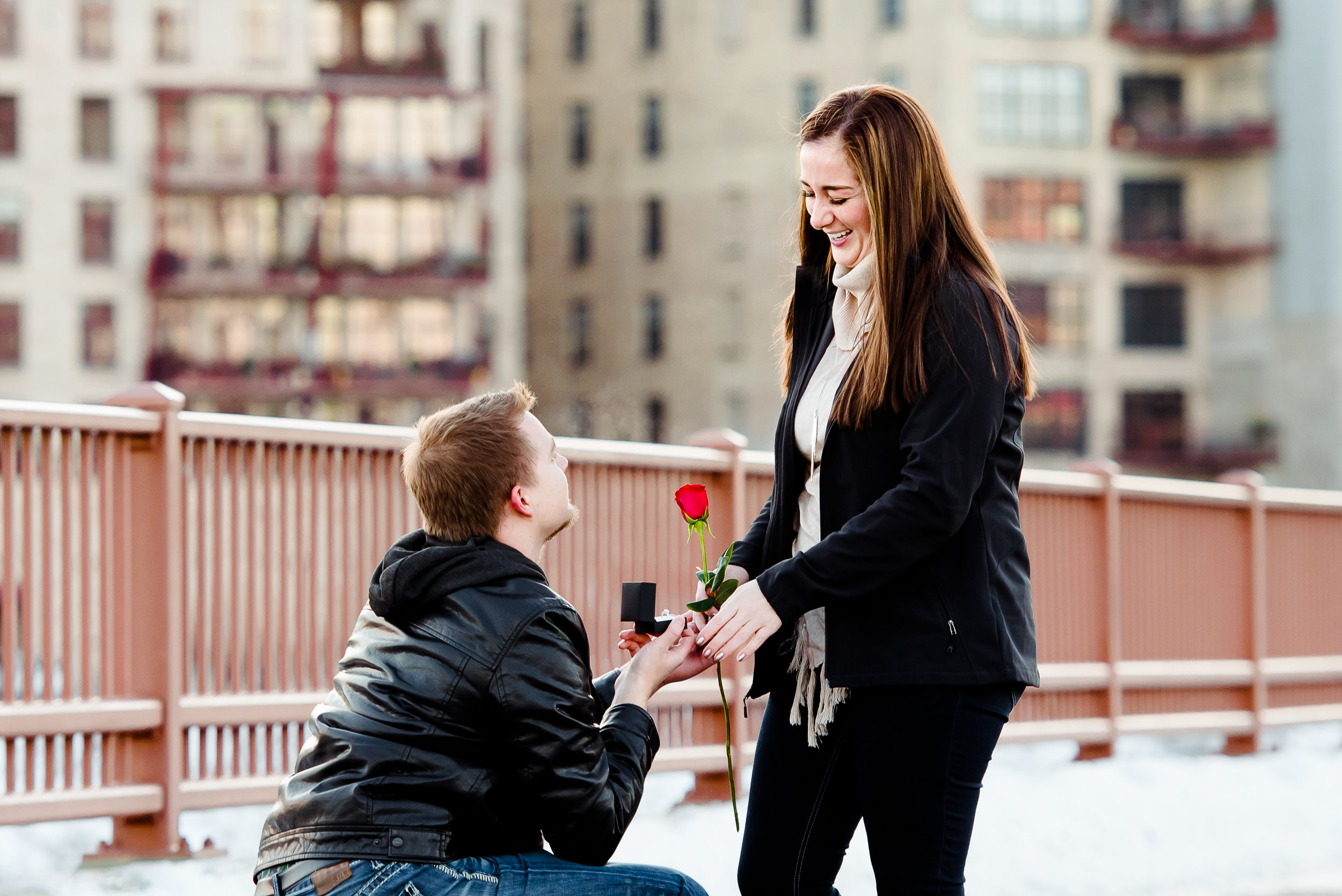 Stone Arch Bridge Engagement Proposal - Will you marry me - Minneapolis Twin Cities Proposal Photography