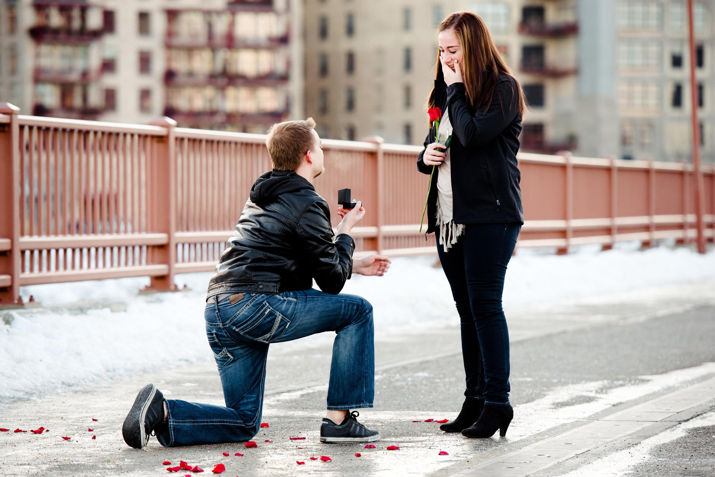 Stone Arch Bridge Marriage Proposal - Winter Engagement at Sunset - Minneapolis Proposal Photographer MN