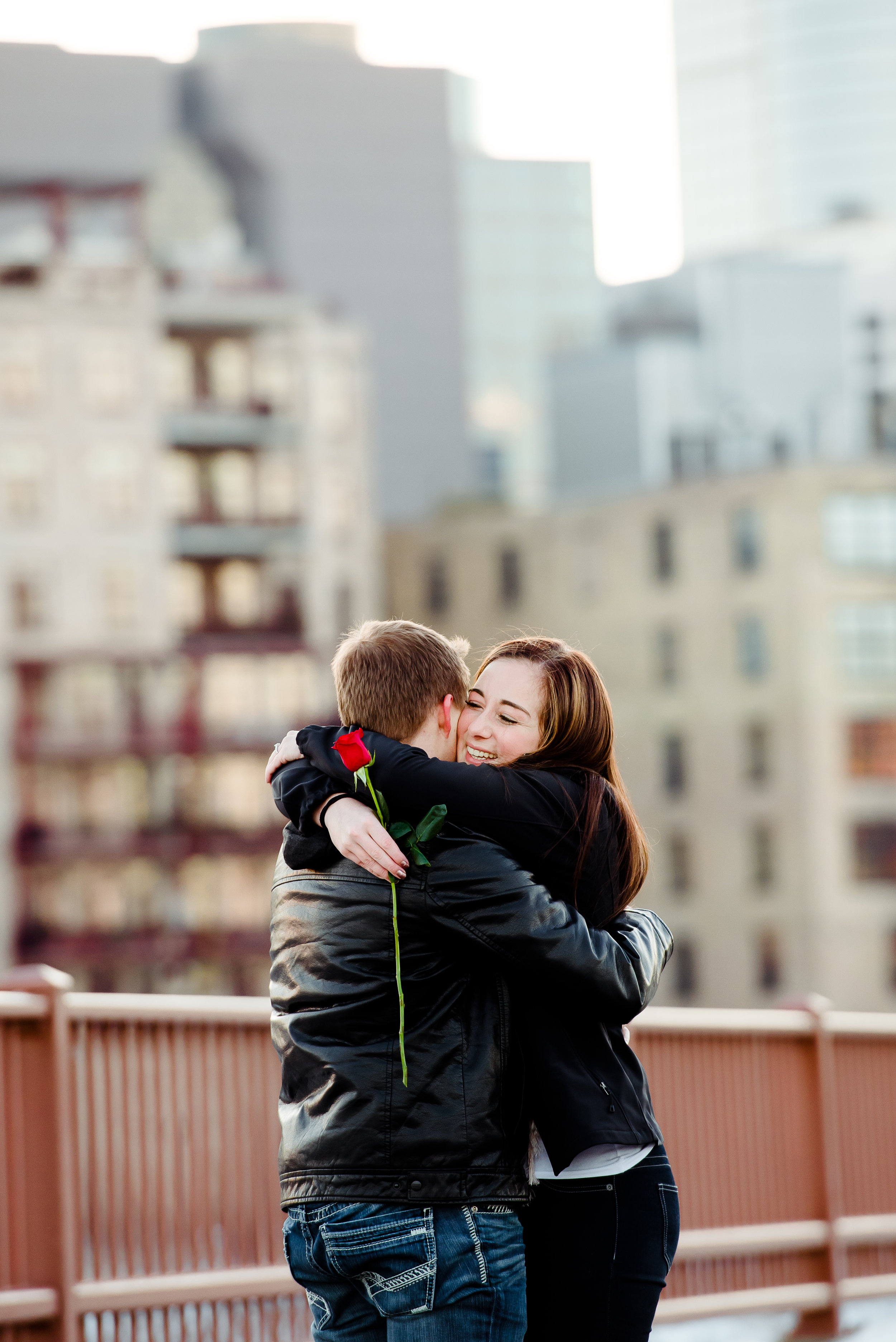 Stone Arch Bridge - Single Red Rose - She Said Yes - How He Asked - Twin Cities Proposal Photographer