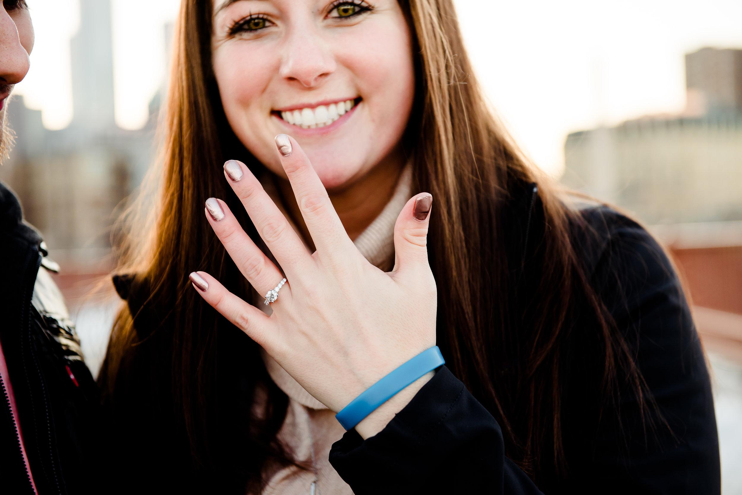 Stone Arch Bridge Surprise Proposal at Sunset in Winter - MN Engagement Proposal Photgrapher