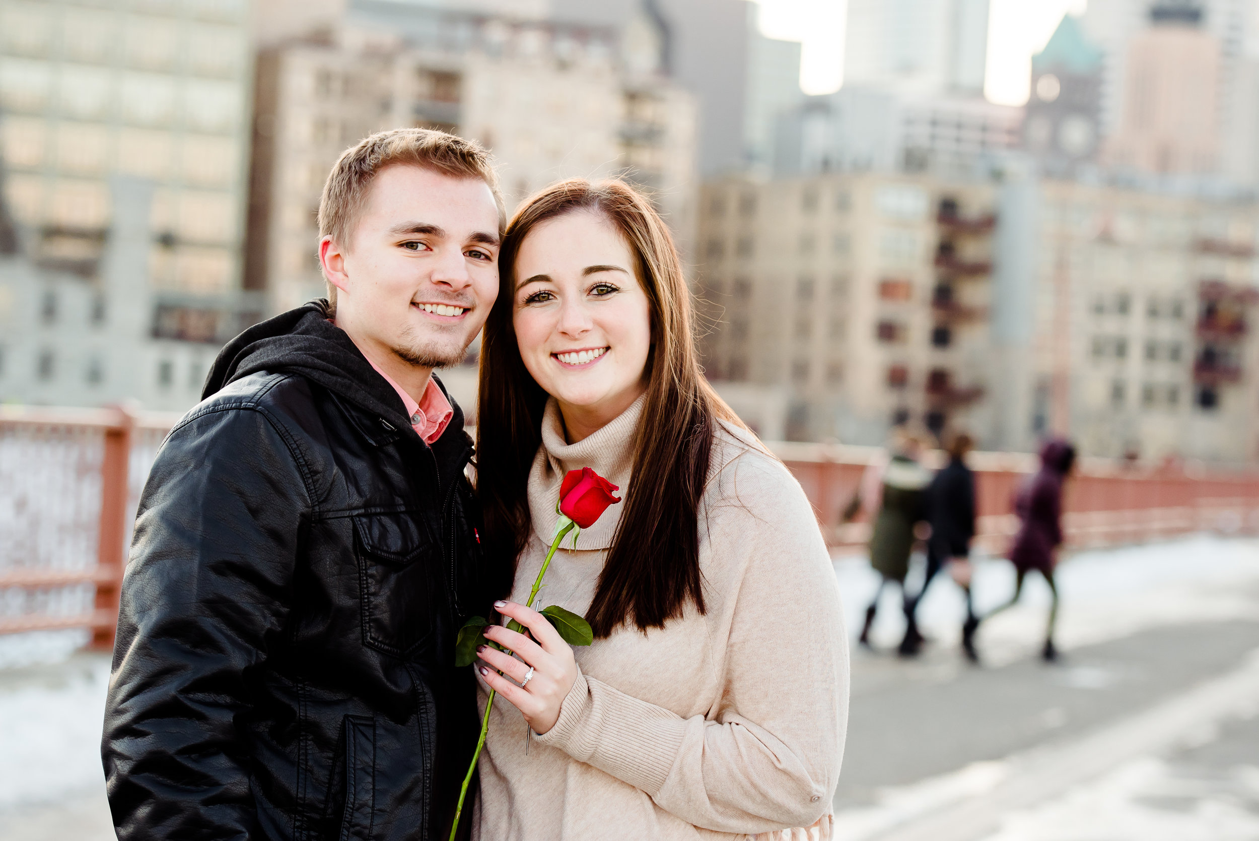 Happy Couple She Said Yes - Stone Arch Bridge Engagement - Minneapolis Surprise Proposal Photographer Twin Cities Best