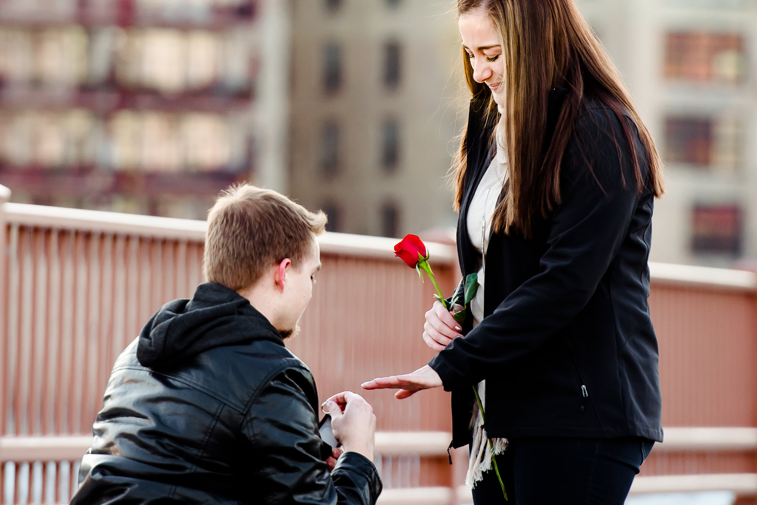 Minneapolis Stone Arch Bridge Engagement - Surprise Proposal at Sunset in the Twin Cities, MN