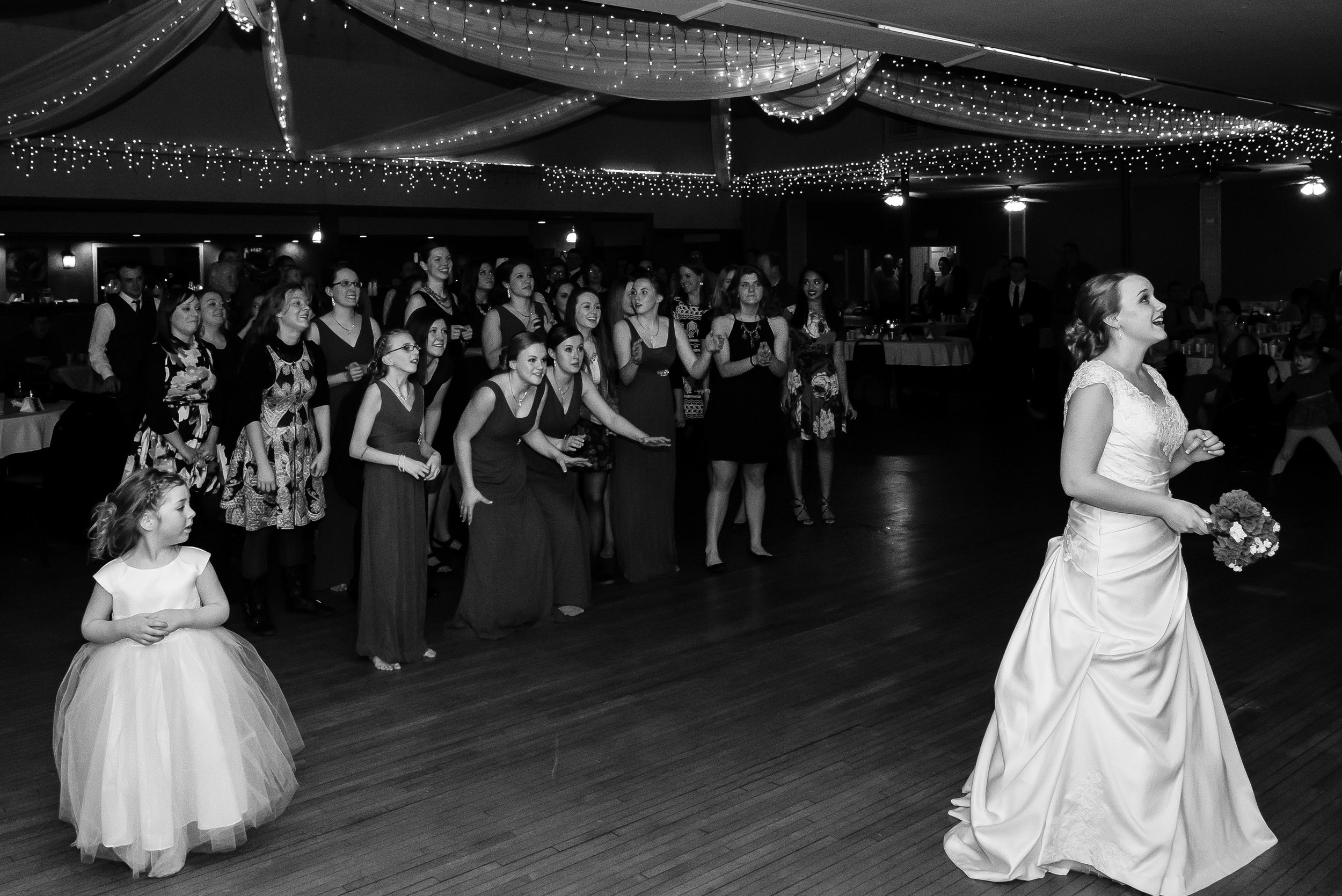 Bride Bouquet Toss at Blue Note Ballroom - Winsted, MN Wedding Photography